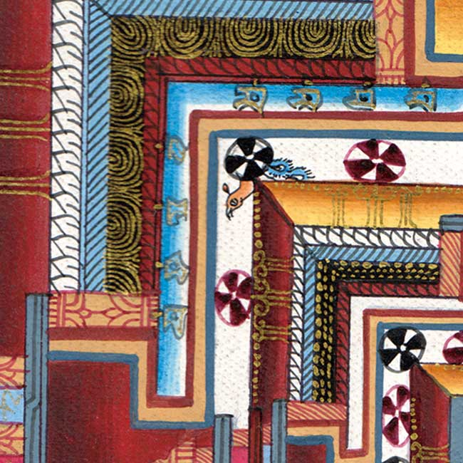 タンカのポスタ - Kala Chakra Mandala 2 - 一部分を拡大してみました