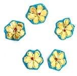インドの刺繍アップリケ 花 5個セット 【水色×金】