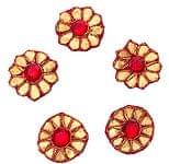 インドの刺繍アップリケ 花 5個セット 【赤】