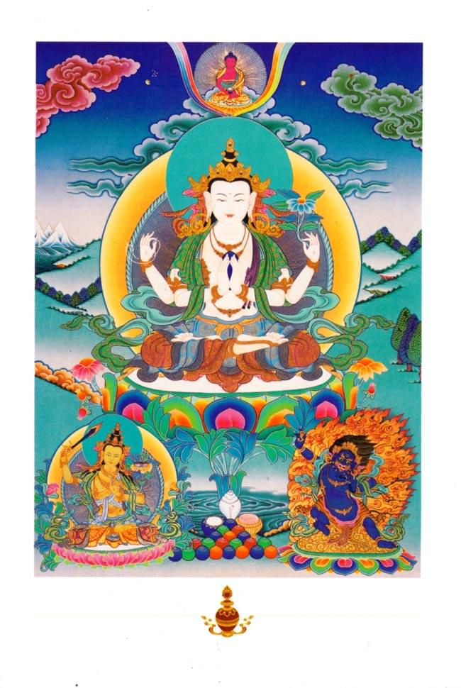 アクショービヤ・ブッダの姿をしたシャカムニ・ブッダのポストカードの写真
