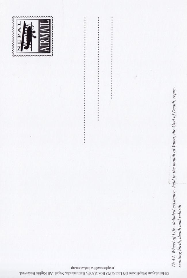 Wheel of Life マンダラ ポストカードの写真2 - 裏イメージです。デザインが異なる場合がございます。ご了承くださいませ。