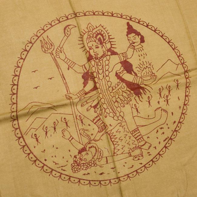 [190cm×100cm]カーリーとシヴァ神 - カーキの写真2 - 柄の拡大写真です
