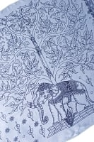 [200cm×100cm]生命の木と象のラムナミ 淡青