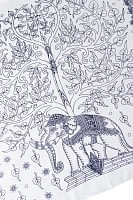 [200cm×100cm]生命の木と象のラムナミ 白