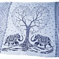 [200cm×100cm]愛の木と象のラムナミ 淡青