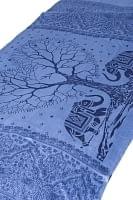 [200cm×100cm]愛の木と象のラムナミ ブルー