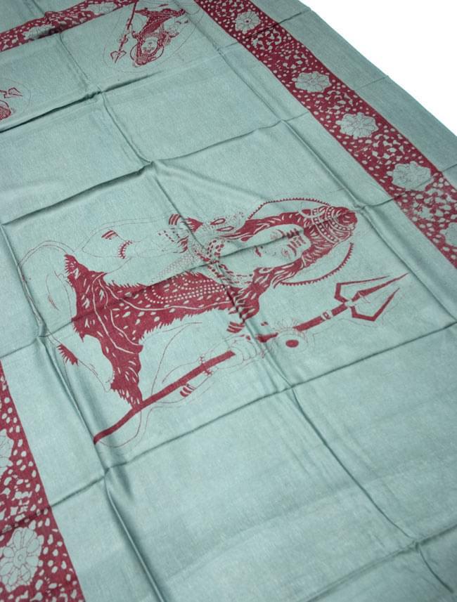 [190cm×100cm]シヴァ神と花柄の大ラムナミ - グリーンの写真2 - 柄の拡大写真です