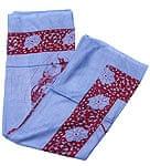 [190cm×100cm]シヴァ神と花柄の大ラムナミ - ブルー