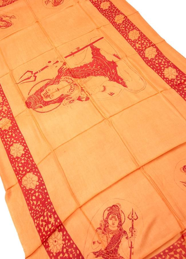 [190cm×100cm]シヴァ神と花柄の大ラムナミ - オレンジの写真2 - 柄の拡大写真です