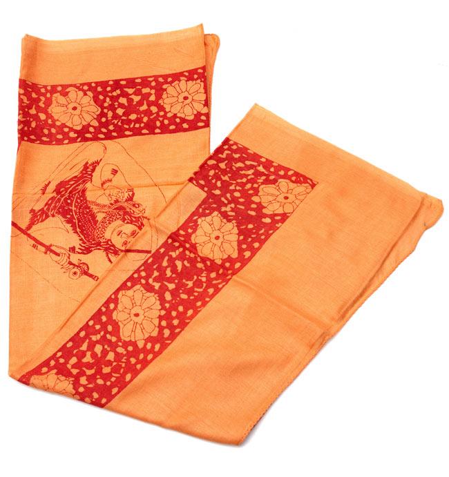 [190cm×100cm]シヴァ神と花柄の大ラムナミ - オレンジの写真