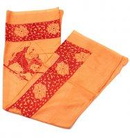 (190cmx100cm)シヴァ神と花柄の大ラムナミ - オレンジ