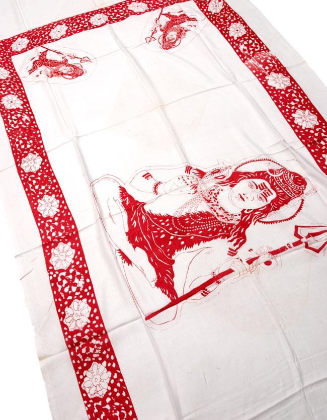 [190cm×100cm]シヴァ神と花柄の大ラムナミ - ホワイトの写真2 - 柄の拡大写真です