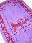 [190cm×100cm]シヴァ神と花柄の大ラムナミ - パープル