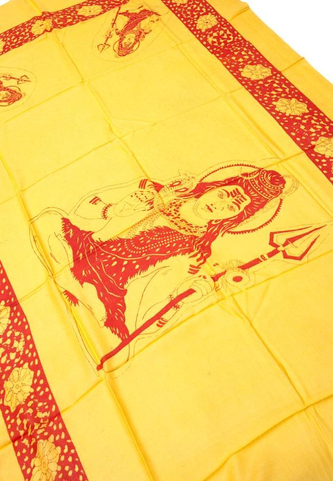 [190cm×100cm]シヴァ神と花柄の大ラムナミ - イエローの写真2 - 柄の拡大写真です
