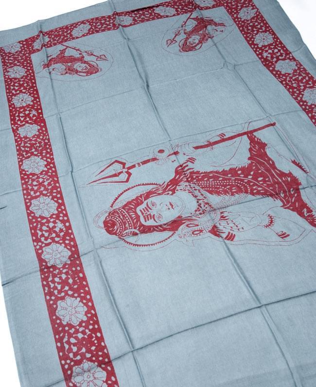 [190cm×100cm]シヴァ神と花柄の大ラムナミ - グレーの写真2 - 柄の拡大写真です
