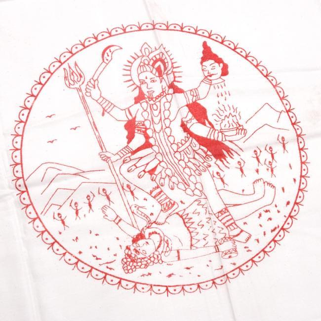[190cm×100cm]カーリーとシヴァ神 - ホワイトの写真2 - 柄の拡大写真です