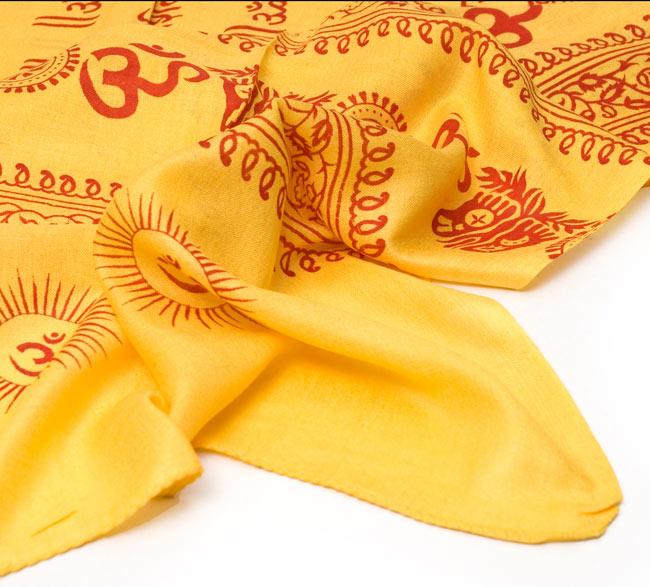 [190cm×100cm]オーンとサンスクリット文字の大ラムナミ - 黄色の写真4 - 裾の部分になります。しっかりと縫われていますよ。