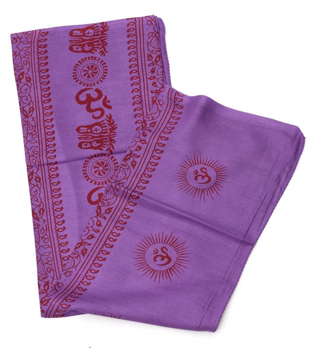 (190cmx100cm)オーンとサンスクリット文字の大ラムナミ - 紫の写真