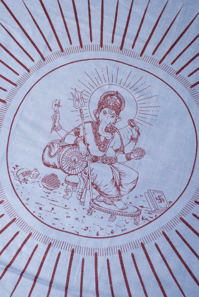 (190cm×100cm)ガネーシャのラムナミスカーフ - 青灰 2 - 中央部分です。大人気の神様、ガネーシャです。