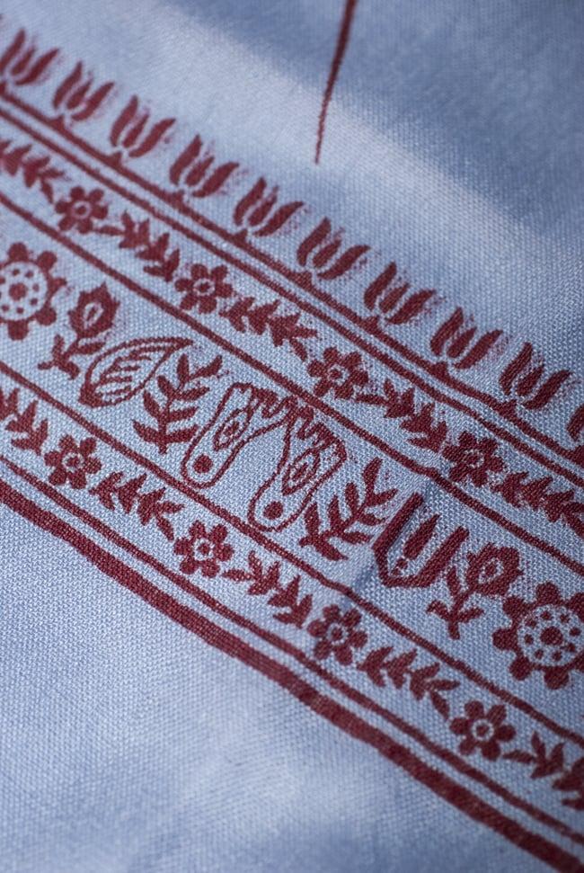 (190cm×100cm)ガネーシャのラムナミスカーフ - 青灰 4 - 文様部分を見てみました。
