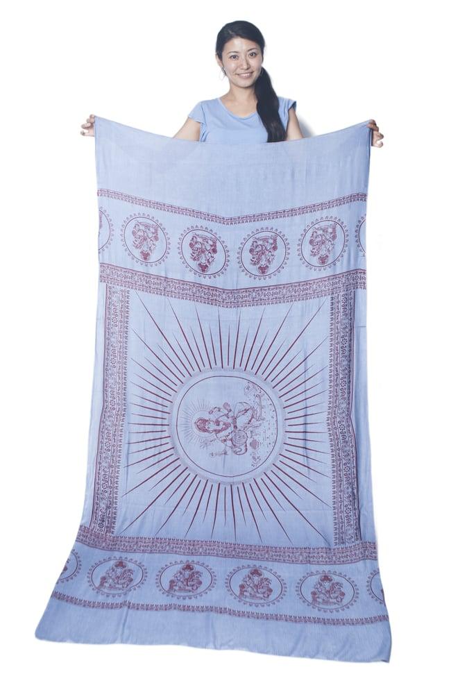 (190cm×100cm)ガネーシャのラムナミスカーフ - 青灰 7 - 広げてみるとこれくらいの大きさです。