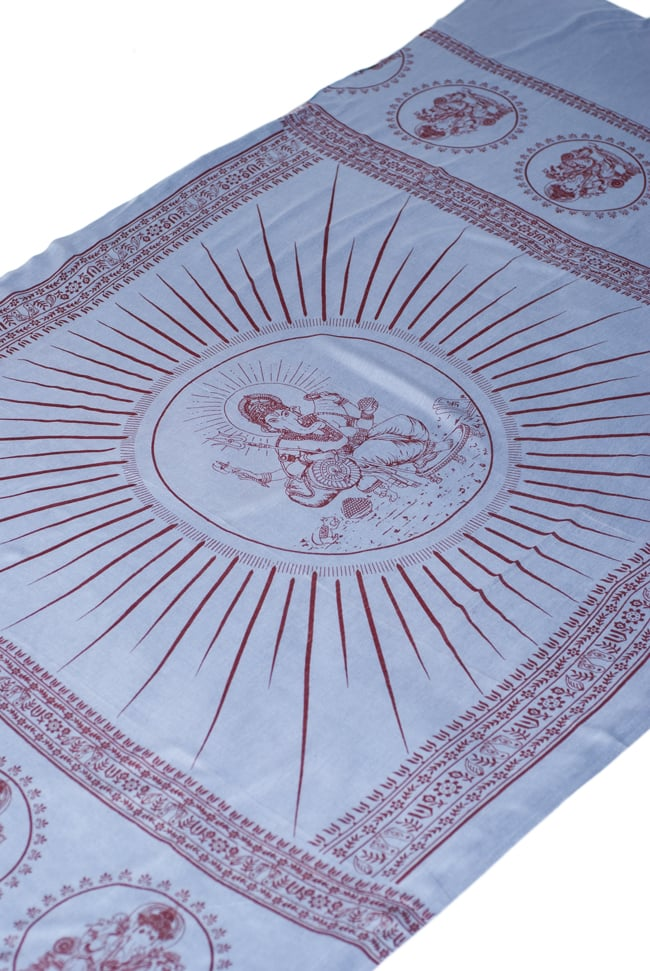 (190cm×100cm)ガネーシャのラムナミスカーフ - 青灰の写真