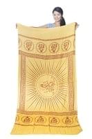 (190cm×100cm)ガネーシャのラムナミスカーフ - 黄