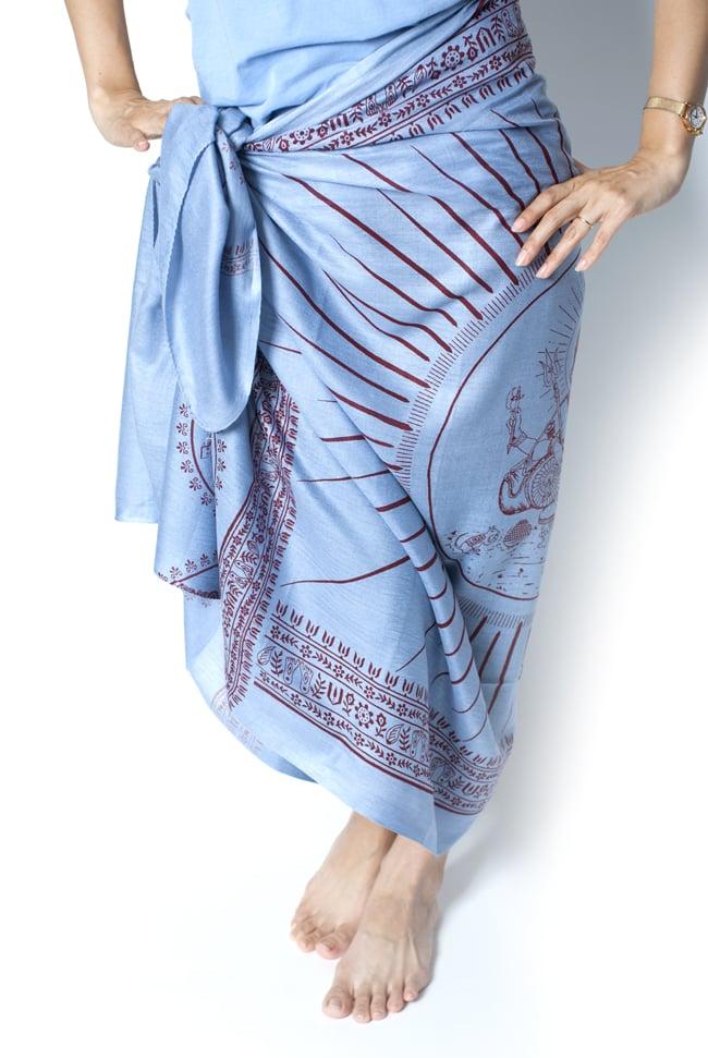 (200cm×100cm)大ガネーシャのラムナミスカーフ - 青灰 8 - 類似商品を着用してみました!