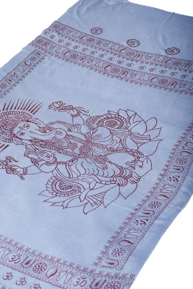 (200cm×100cm)大ガネーシャのラムナミスカーフ - 青灰の写真
