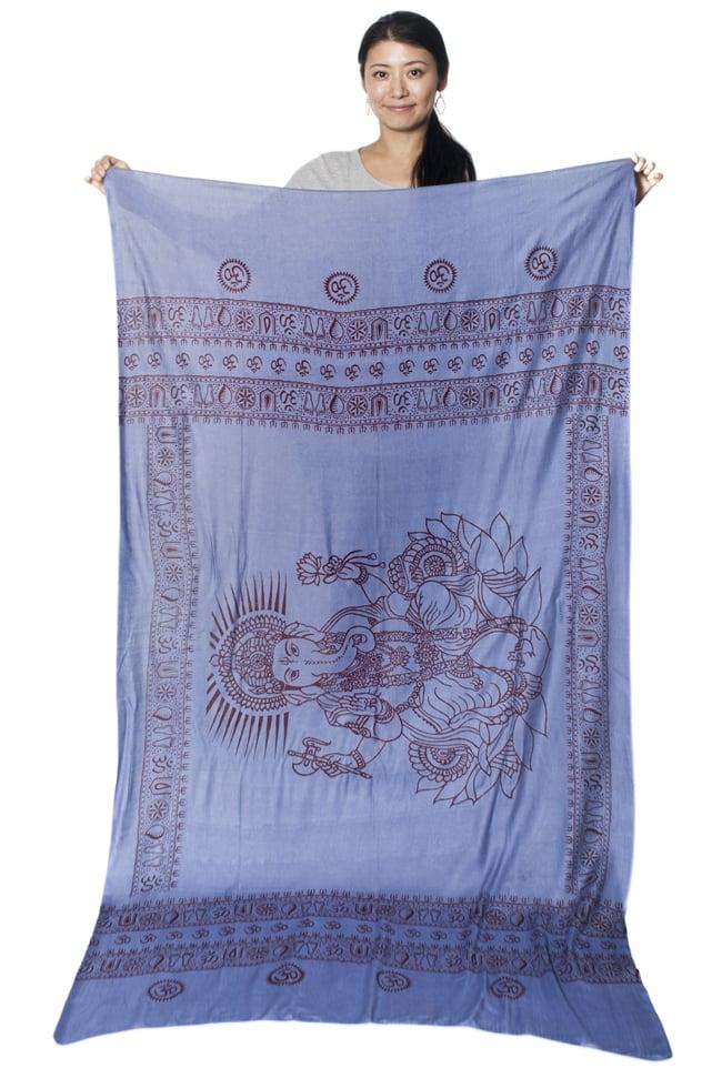 (200cm×100cm)大ガネーシャのラムナミスカーフ - 淡青 7 - 広げてみるとこれくらいの大きさです。