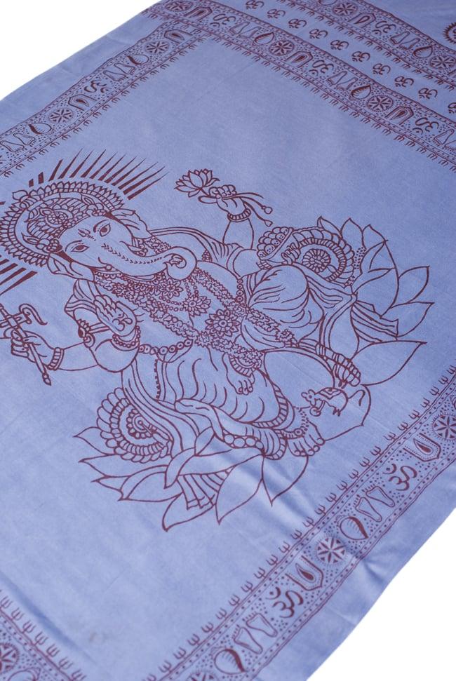 (200cm×100cm)大ガネーシャのラムナミスカーフ - 淡青の写真