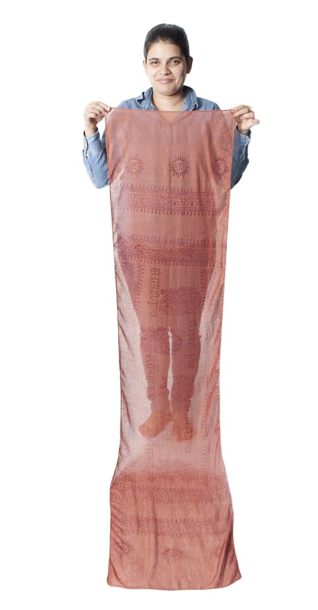 [約180cm×40cm]インド薄ラムナミ【ロング】 - テラコッタの写真9 - 身重154cmのサラダちゃんが持ってみました。180cmくらいある布なので、いろいろ使いみちがありそうです。