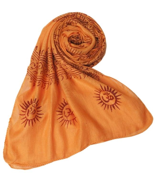 (約180cm×40cm)インド薄ラムナミ(ロング) - 橙色 6 - スカーフなどにぴったりの布地です。