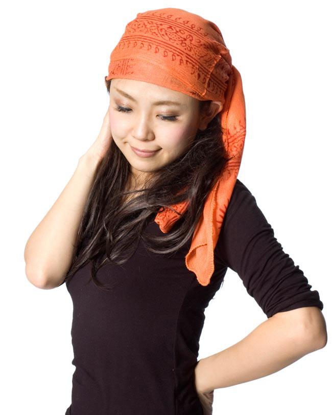(約180cm×40cm)インド薄ラムナミ(ロング) - 橙色 8 - ターバンにしてみても素敵ですね。