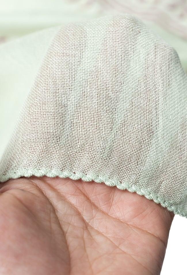 [約180cm×40cm]インド薄ラムナミ【ロング】 - 薄うぐいす色の写真5 - 透け感のある布地です。