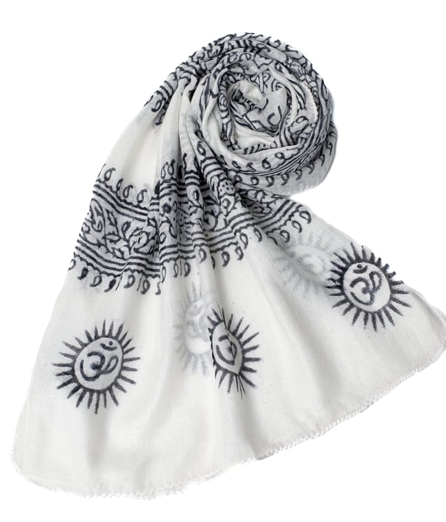 (約180cm×40cm)インド薄ラムナミ(ロング) - 白地に黒 6 - スカーフなどにぴったりの布地です。