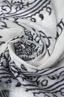 [約180cm×40cm]インド薄ラムナミ【ロング】 - 白地に黒