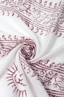 [約180cm×40cm]インド薄ラムナミ【ロング】 - 白地に赤