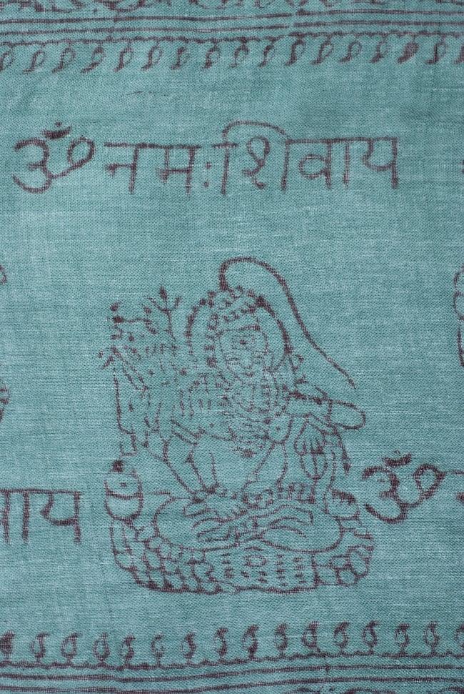 [約180cm×40cm]インド薄ラムナミ【ロング】 - 濃青緑の写真3 - 神様柄の様子です。オーンであったりガネーシャであったり様々ですので、アソートでのお届けと鳴ります。