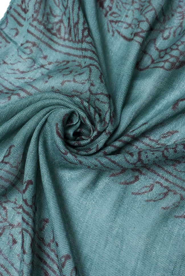 [約180cm×40cm]インド薄ラムナミ【ロング】 - 濃青緑の写真