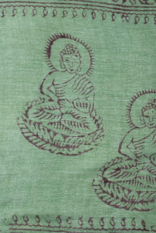 [約180cm×40cm]インド薄ラムナミ【ロング】 - 緑の写真3 - 神様柄の様子です。オーンであったりガネーシャであったり様々ですので、アソートでのお届けと鳴ります。