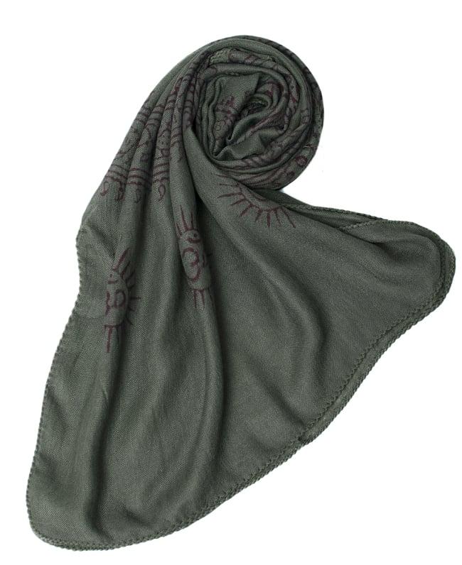 [約180cm×40cm]インド薄ラムナミ【ロング】 - ダークグリーンの写真6 - スカーフなどにぴったりの布地です。