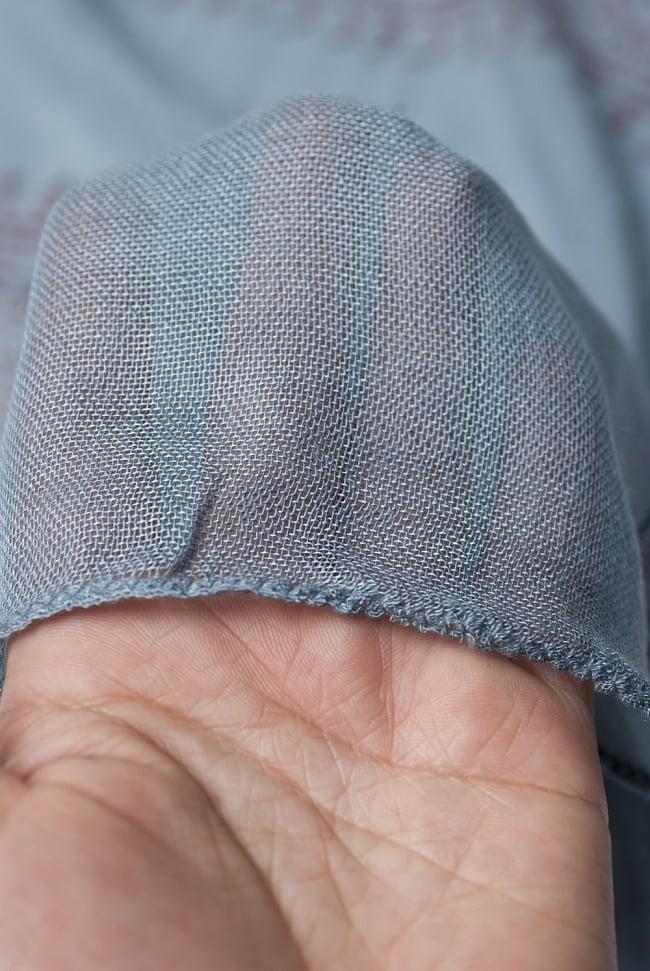 [約180cm×40cm]インド薄ラムナミ【ロング】 - 青灰色の写真5 - 透け感のある布地です。