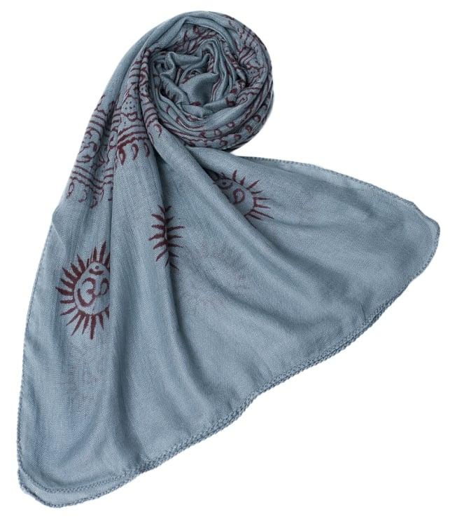 [約180cm×40cm]インド薄ラムナミ【ロング】 - 青灰色の写真6 - スカーフなどにぴったりの布地です。