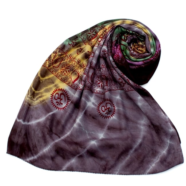 〔195cm*100cm〕ガネーシャ&ヒンドゥー神様のタイダイサイケデリック布 - 黒紫×黄×ピンク×緑系 7 - ストールやショールへもオススメ