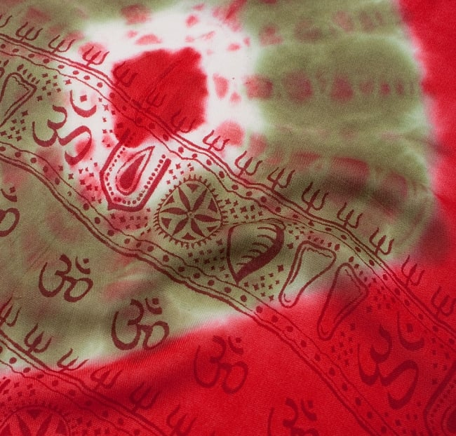 〔195cm*100cm〕ガネーシャ&ヒンドゥー神様のタイダイサイケデリック布 - 赤×紫×茶×緑系 3 - 拡大写真です