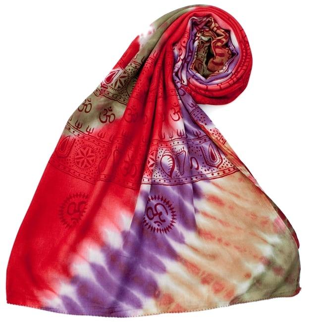 〔195cm*100cm〕ガネーシャ&ヒンドゥー神様のタイダイサイケデリック布 - 赤×紫×茶×緑系 7 - ストールやショールへもオススメ