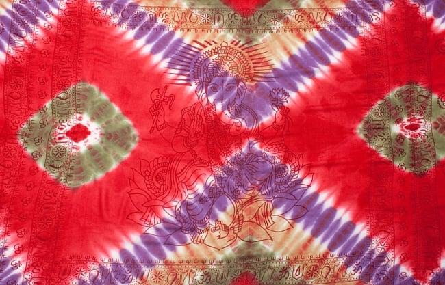 〔195cm*100cm〕ガネーシャ&ヒンドゥー神様のタイダイサイケデリック布 - 赤×紫×茶×緑系 8 - 【選択:A】の写真です。このように中心にガネーシャ柄が入っています。