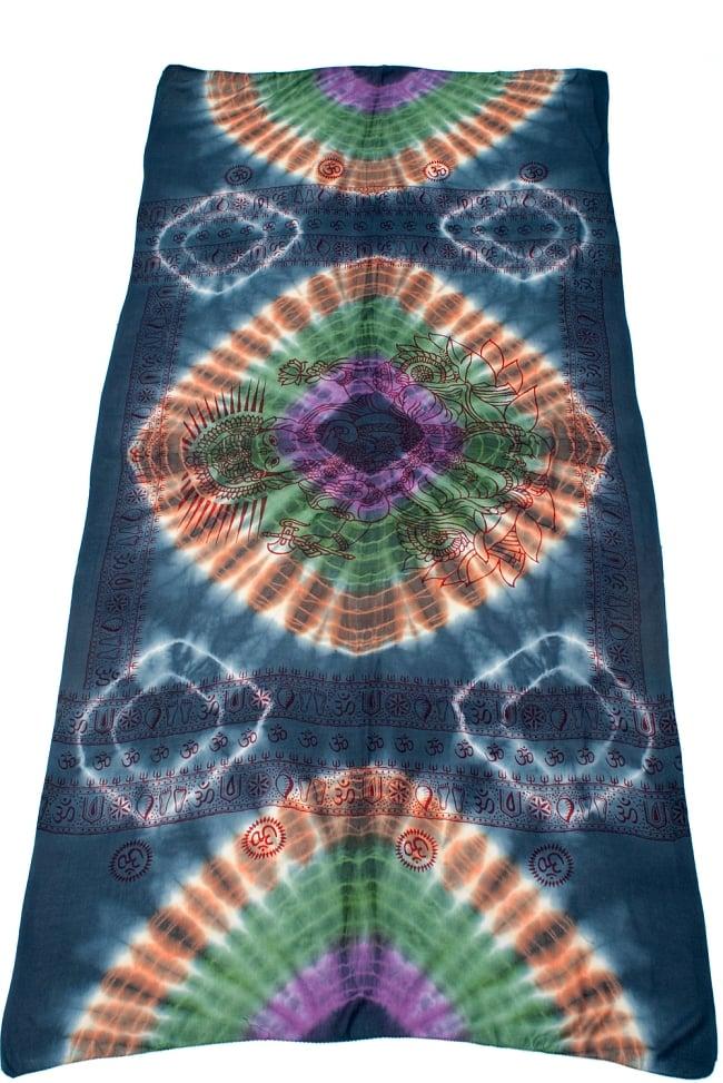 〔195cm*100cm〕ガネーシャ&ヒンドゥー神様のタイダイサイケデリック布 - ダークグレー×紫×緑×オレンジ系の写真2 - 全体写真です。とても大きな布なのでソファーカバーなどのインテリアファブリックへ。