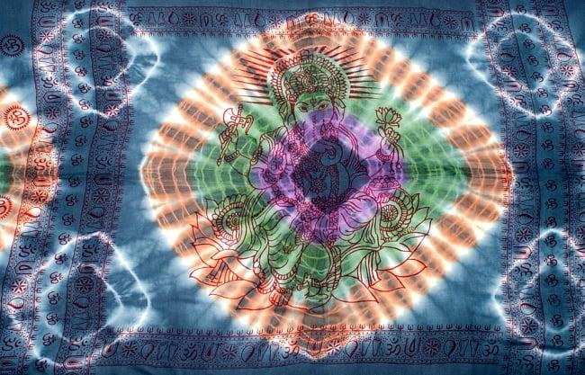 〔195cm*100cm〕ガネーシャ&ヒンドゥー神様のタイダイサイケデリック布 - ダークグレー×紫×緑×オレンジ系の写真8 - 【選択:A】の写真です。このように中心にガネーシャ柄が入っています。